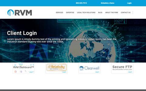Screenshot of Login Page rvminc.com - Clients | RVM Enterprises, Inc. - captured June 23, 2019