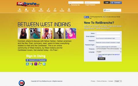Screenshot of Home Page retbranche.com - RB.ht - The Caribbean & Haiti Social Media Platform - captured Oct. 6, 2014