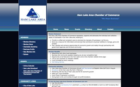 Screenshot of About Page hamlakecc.org - Ham Lake Area Chamber of Commerce - About Us - captured Oct. 1, 2014