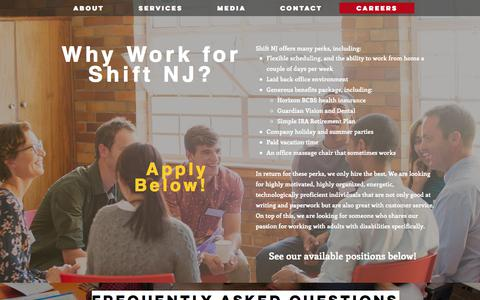 Screenshot of Jobs Page shifttransition.com - Shift NJ | Careers - captured Sept. 21, 2018