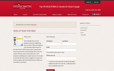 Screenshot of Signup Page sylviasmithteam.com - Register - captured Jan. 12, 2016