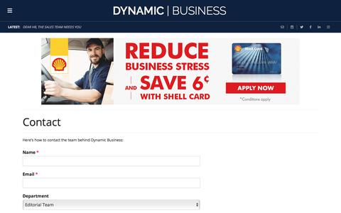Screenshot of Contact Page dynamicbusiness.com.au - Contact | Dynamic Business - captured July 22, 2019