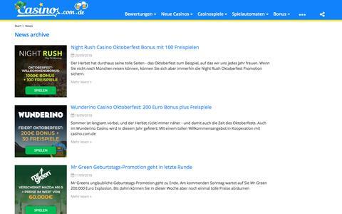 Screenshot of Press Page casino.com.de - News Archiv - www.casino.com.de - captured Sept. 24, 2018