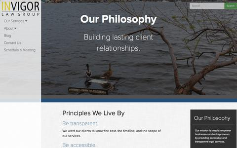 Screenshot of About Page invigorlaw.com - InVigor Law Group | Our Philosophy - captured Feb. 11, 2016