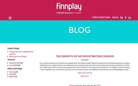 Screenshot of Blog finnplay.com - Finnplay - Blog - captured Dec. 9, 2018