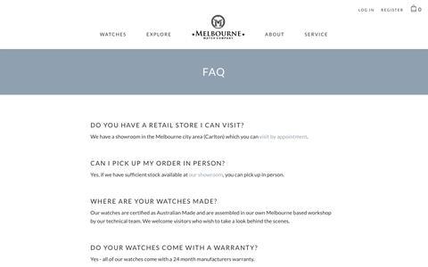 Screenshot of FAQ Page melbournewatch.com.au - FAQ                      – Melbourne Watch Company - captured Oct. 2, 2018