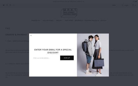 Screenshot of FAQ Page mrktstore.com - FAQ - M.R.K.T. - captured Oct. 1, 2018