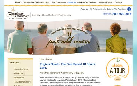 Screenshot of Services Page wcbay.com - Retirement Homes Virginia Beach VA | Westminster-Canterbury on Chesapeake Bay - captured Oct. 20, 2017