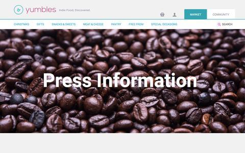 Screenshot of Press Page yumbles.com - Press Information - Yumbles.com - captured Nov. 23, 2015