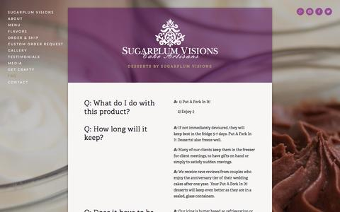 Screenshot of FAQ Page sugarplum-visions.com - FAQ — Put A Fork In It! - captured Sept. 30, 2014