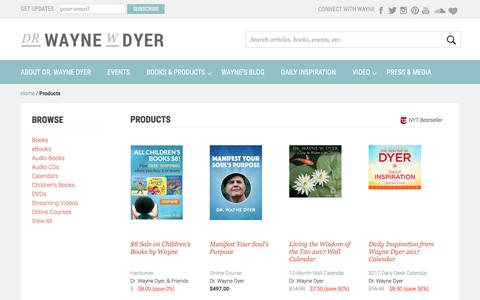 Screenshot of Products Page drwaynedyer.com - Dr. Wayne Dyer Books & Products - captured Oct. 5, 2016