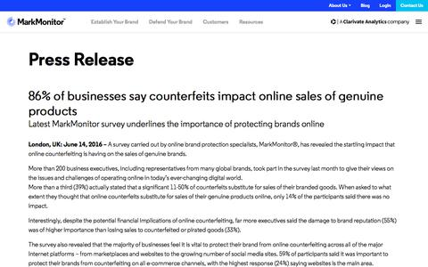 Screenshot of Testimonials Page markmonitor.com - 86% of businesses say counterfeits impact online sales of genuine products - MarkMonitor - captured Jan. 13, 2020
