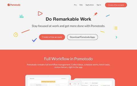 Screenshot of Home Page pomotodo.com - Pomotodo - A Time Management App for the Creators - captured Nov. 1, 2016