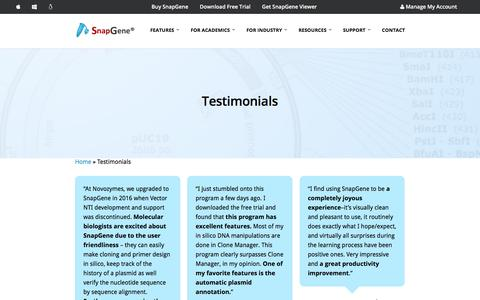 Screenshot of Testimonials Page snapgene.com - SnapGene Testimonials - SnapGene Users are Passionate Advocates - captured Aug. 30, 2019