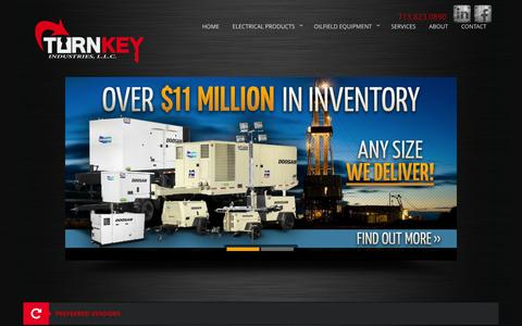 Screenshot of Home Page turnkey-industries.com - Houston Custom Electrical & Power Equipment | Turnkey Industries - captured Oct. 9, 2014