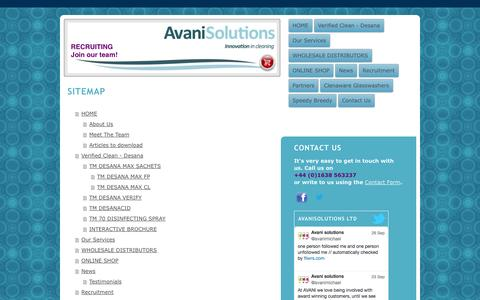 Screenshot of Site Map Page avanisolutions.co.uk - Purple beer line cleaner, colour change technology, verified hygiene - captured Sept. 30, 2014