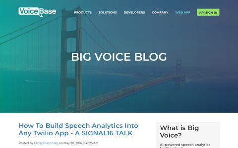 Screenshot of Developers Page voicebase.com - Speech Rec, Speech Analytics & Predictive Analytics | Developer - captured Feb. 11, 2019