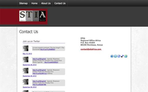 Screenshot of Contact Page stiafrica.com - Contact Us - captured Sept. 30, 2014
