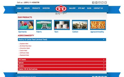 Screenshot of Products Page tttextiles.com - TT-Textile :: Maize India - Maize Seed Producers - TT Textiles - captured Oct. 6, 2014