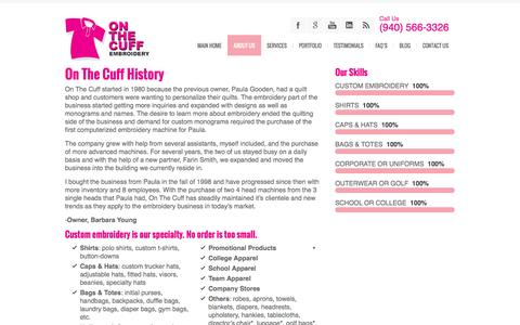 Screenshot of About Page onthecuff.com - About Us - On The Cuff History - captured Oct. 7, 2014