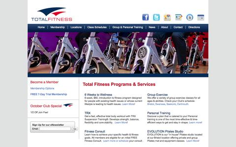 Screenshot of Home Page Locations Page totalfitnessclubs.com - Total Fitness Clubs - Home - captured Oct. 7, 2014