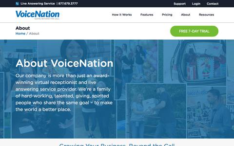 Screenshot of About Page voicenation.com - VoiceNation: Why We're The Best Live Answering Service - captured Aug. 2, 2019