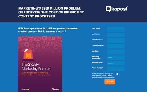 Screenshot of Landing Page kapost.com - Quantifying the Cost of Inefficient Content Processes - captured April 24, 2016