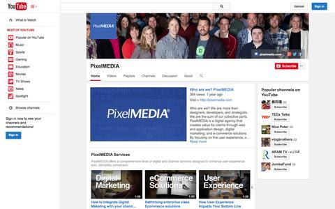 Screenshot of YouTube Page youtube.com - PixelMEDIA  - YouTube - captured Oct. 22, 2014