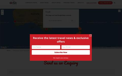 Screenshot of Contact Page Locations Page orbitworldtravel.com.au - Corporate Travel Australia - Orbit World Travel - captured July 6, 2018