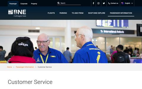 Screenshot of Support Page bne.com.au - Customer Service | Brisbane Airport - captured Nov. 7, 2018
