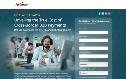 Screenshot of Landing Page payoneer.com - Free White Paper: Unveiling the True Cost of Cross-Border B2B Payments - captured June 27, 2016