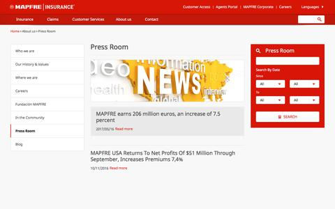 Screenshot of Press Page mapfreinsurance.com - Press Room - MAPFRE Insurance - captured Aug. 18, 2017