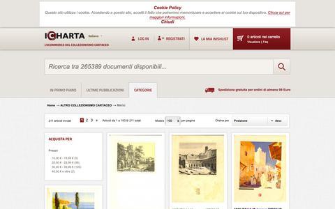 Screenshot of Menu Page icharta.com - Menù - ALTRO COLLEZIONISMO CARTACEO - captured Dec. 2, 2018