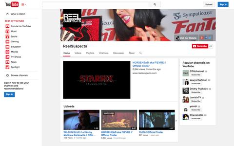 Screenshot of YouTube Page youtube.com - ReelSuspects  - YouTube - captured Oct. 25, 2014