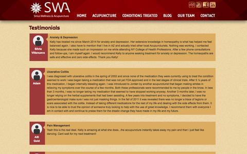 Screenshot of Testimonials Page sirius-wellness.com - Testimonials | Sirius Wellness & Acupuncture - captured Oct. 2, 2014
