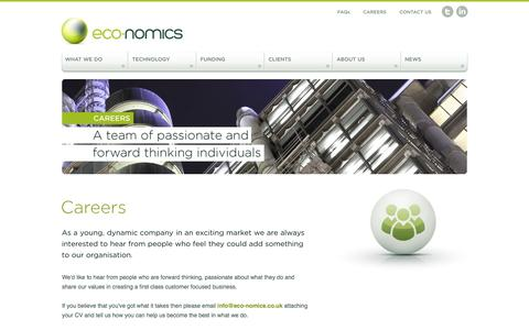 Screenshot of Jobs Page eco-nomics.co.uk - Eco-Nomics | Helping you reduce operating costs and energy consumption - captured Jan. 25, 2016
