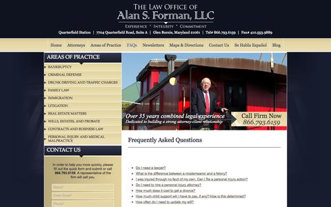 Screenshot of FAQ Page alanformanlaw.com - Maryland Frequently Asked Legal Questions - captured Oct. 7, 2014