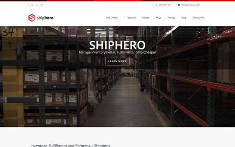 Screenshot of Home Page shiphero.com - ShipHero Mobile Warehouse Management System - captured Jan. 13, 2016