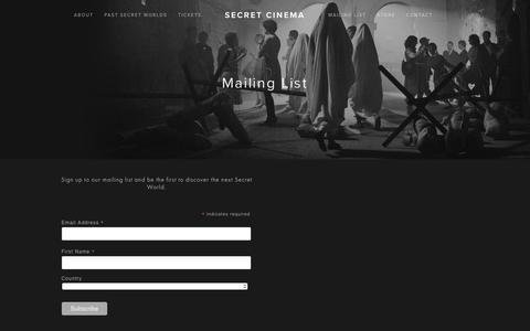 Screenshot of Signup Page secretcinema.org - Mailing List — Secret Cinema - captured Nov. 7, 2018