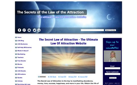 Screenshot of Home Page the-secrets-of-the-law-of-attraction.com - The Secret Law of Attraction - The Ultimate Law Of Attraction Website - captured June 14, 2016