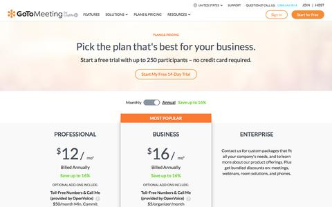 Screenshot of Pricing Page gotomeeting.com - GoToMeeting New Pricing Plans and Options That Fit Your Budget | GoToMeeting - captured Oct. 9, 2019