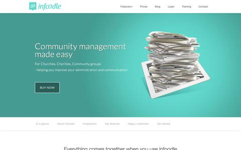 Screenshot of Home Page infoodle.com - Church, Charity, Community group management system - captured Nov. 26, 2016