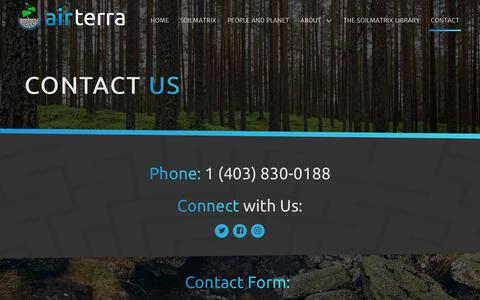 Screenshot of Contact Page airterra.ca - Contact - AirTerra - captured July 29, 2018