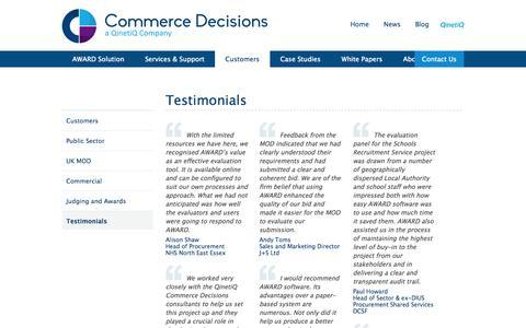 Screenshot of Testimonials Page qinetiq.com - Testimonials   Commerce Decisions - captured Oct. 10, 2014