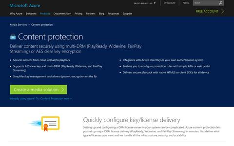 Screenshot of Services Page microsoft.com - Content protection | Azure Media Services - captured Jan. 5, 2017