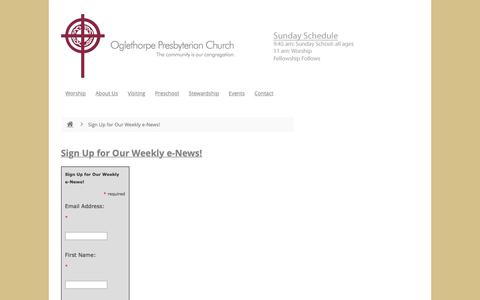 Screenshot of Signup Page opcbrookhaven.org - Sign Up for Our Weekly e-News! - Oglethorpe Presbyterian Church - captured Oct. 18, 2018