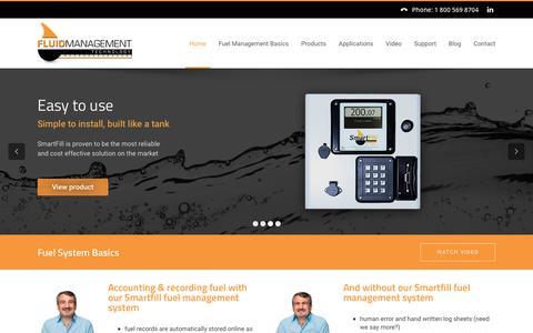Screenshot of Home Page fluidmt.com - Fuel Management System | SmartFill Gen 2 - captured Oct. 14, 2017