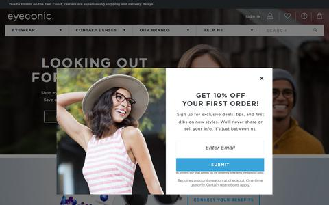 Screenshot of Home Page eyeconic.com - Shop Contacts, Prescription Glasses & Sunglasses at Eyeconic - captured Sept. 23, 2018