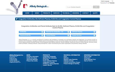 Screenshot of Products Page affinitybiologicals.com - Plasma Antibodies | Control Plasmas | Affinity Biologicals - captured Oct. 3, 2018