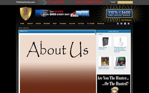 Screenshot of About Page thepokerhunter.com - About Us - captured Oct. 9, 2014